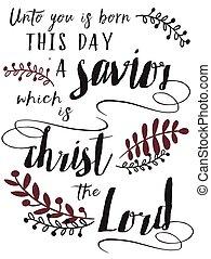 kristus, denne, os, født, barn, lord, savior, dag, unto