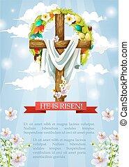 kristus, kříž, rubáš, vektor, krucifix, velikonoční