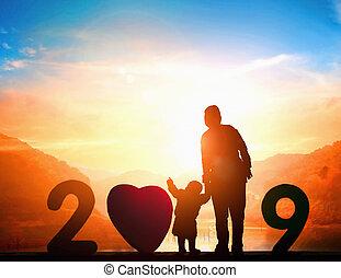kristus, kors, jesus, solnedgång, bakgrund, 2019, jul, ...