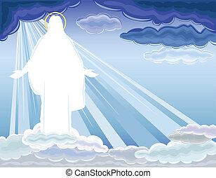 kristus, uppståndelse, steget, -