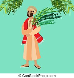 krisztus, belépés, ünnep, húsvét, emberek, zöld, ábra, ünneplés, jézus, jeruzsálem, vallás, vasárnap, vektor, pálma, köszöntések, ember, pálma, boldog, előbb