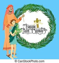 krisztus, belépés, ünnep, húsvét, emberek, zöld, ábra, ünneplés, jézus, jeruzsálem, vallás, vasárnap, vektor, pálma, köszöntések, kölyök, ember, pálma, boldog, előbb