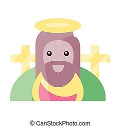 krisztus, jézus, háttér, fehér, jelkép, vallásos