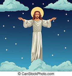 krisztus, kép, jézus, háttér, éjszaka, vallásos