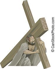krisztus, keresztre feszítés, hordozó, kereszt