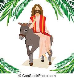 krisztus, szamár, ünnep, húsvét, boldog, zöld, ábra, belépés, ünneplés, jézus, jeruzsálem, vallás, vasárnap, vektor, pálma, köszöntések, ember, pálma, gördülni, előbb
