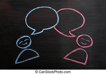 krita, beräknar, mänsklig, tom, anförande, bubblar, teckning