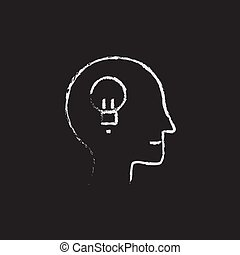 krita, oavgjord, huvud, idé, mänsklig