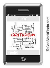 kritiek, woord, wolk, concept, op, touchscreen, telefoon