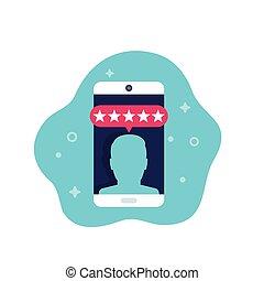 kritik, beweglich, ikone, vektor, bewertung, kunde