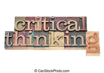 kritisk, træ, tænkning, type