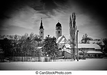 Krizevci winter black and white view - Snowy town of...