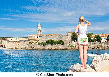 Krk town, Mediterranean, Croatia, Europe - Lady viewing at ...