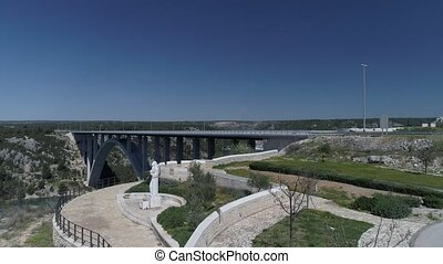 Krka bridge aerial - Aerial view of the the highway A1...