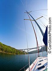 krka, fluß, segeln
