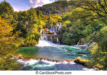 Beautiful scenic view of a couple of waterfalls of the Krka river in Krka national park in Croatia