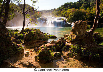 Krka limestone falls - Beautiful view on the Skradinski...