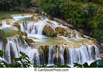 krka park big waterfall in croatia