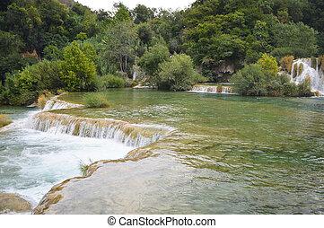 Krka park lake and small waterfall