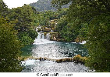 Krka park river and smal waterfall