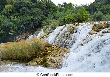 Krka park waterfall  in croatia