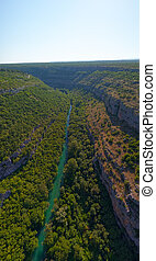 Krka River, aerial view from the middle of the canyon