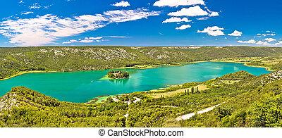 Krka river national park panoramic view with Visovac monastery