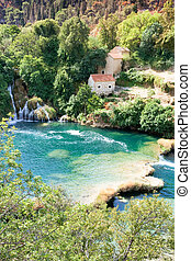 krka, sibenik, kroatien, -, idyllisch, lebensunterhalt,...