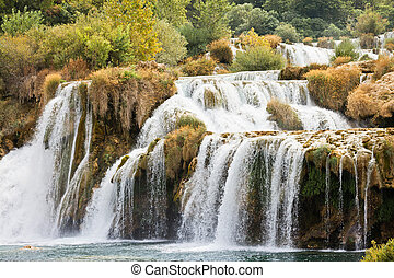 krka, sibenik, national, -, endlos, krka, kroatien, durch, park, grauer star