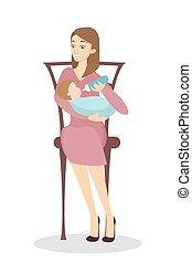 krmení, matka, baby.