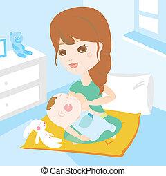 krmení, narozený, prs, matka, děťátko, čerstvý