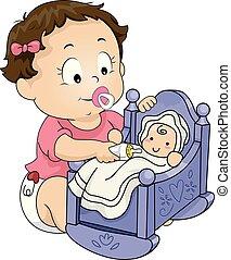 krmení, panenka, ilustrace, děvče, batole, kůzle