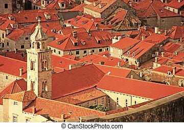 kroatien, dachenden, alte stadt, dubrovnik