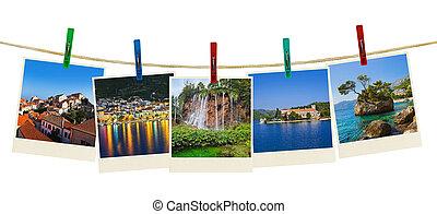 kroatien, fotografi, på, klädnypor