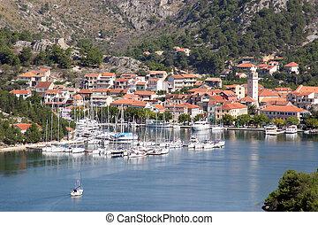 kroatien, krka, fluß, park, national, skradin