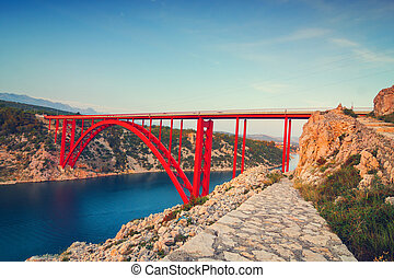 kroatien, maslenica, meerenge, sonnenuntergang, schöne