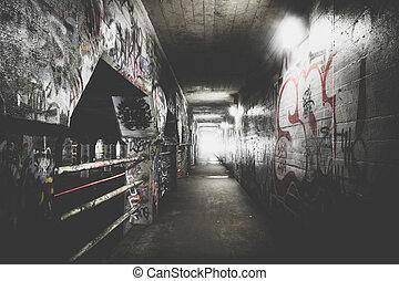 krog, calle, túnel, dentro, atlanta, grafiti, georgia.
