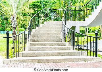 krok, abstrakcyjny, ogród, schodek