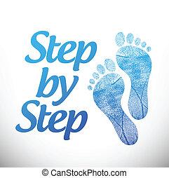 krok, projektować, ilustracja, znak