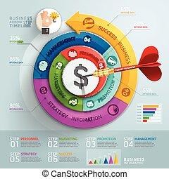krok, strzała, handlowy, infographics