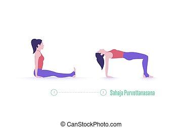krok, zwyżkowy, sahaja, ruch, pose., -, stół, purvottanasana., yoga upozowują