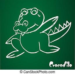 krokodil, bild, vektor