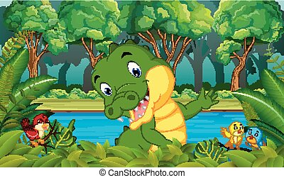 krokodil, bos