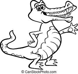 krokodil, dier, spotprent, kleurend boek