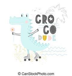 krokodil, dude., gyerekek, skandináv, fogalom, design., kéz, forgócsapok, lakás, nyomtat, objects., croco, vektor, csinos, húzott, árajánlatot tesz, furcsa, mód, felirat, elszigetelt, ábra