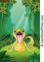 krokodil, duidelijk, groen bos