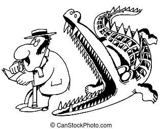 krokodil, eten, man