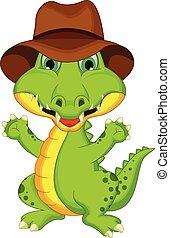 krokodil, feltevő, karikatúra