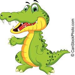 krokodil, het poseren, spotprent