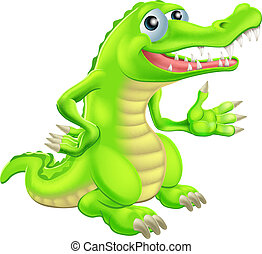 krokodil, karikatur, abbildung
